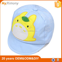 Applique combed cotton baby hats caps in 5 panel