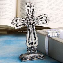 Pewter Color Cross Statue with Ivory Enamel Inlay Party Decoration