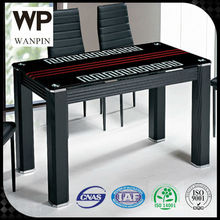 6 and 8 seater wood like top cheap modern tempered glass dining table
