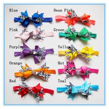 Custom zebra printed ribbon bow baby headband infant elastic hair band