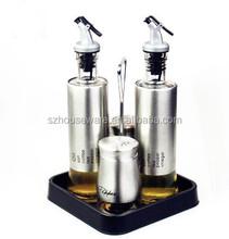 glass oil vinegar and salt pepper set with rack