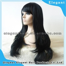 top quality pure black silk straight synthetic fiber front lace wig with bang