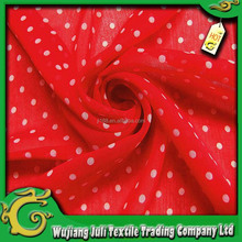 white dot red printed chiffon fabric for women dress