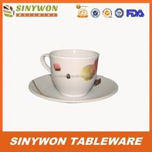 การออกแบบที่เรียบง่ายราคาถูกขายส่งเมลามีนถ้วยกาแฟและจานรอง