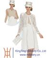Venta al por mayor de vestido de boda / de iglesia elegante en color blanco para mujer y sombrero
