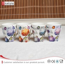 Unique Design ear handle white porcelain cup for hotel