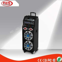 guangzhou trolley bluetooth wooden speaker box with battery/fm radio/remote support mp3 player
