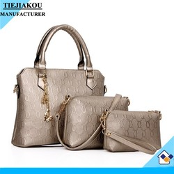 2015 top sale fashion women bag 3pcs set bag wholesale pu leather handbag and purse