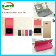 Hotsale two smart view window bling flip cover case for nokia lumia 730