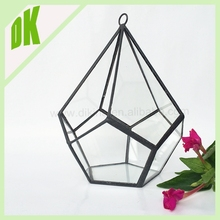 **With Flat Base&Ring Hook Geometric terrarium // Hanging Candle Holder crystal transparent hanging horticulture terrarium glass