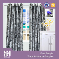 Polyester flocking bedroom window curtain, european style hotel window curtain