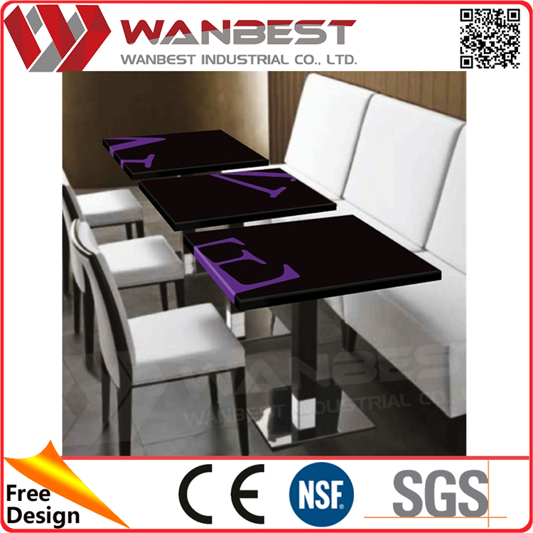 Dt 038 Black Purple E Letter Hi Macs Restaurant Dining Table With Customized Logo