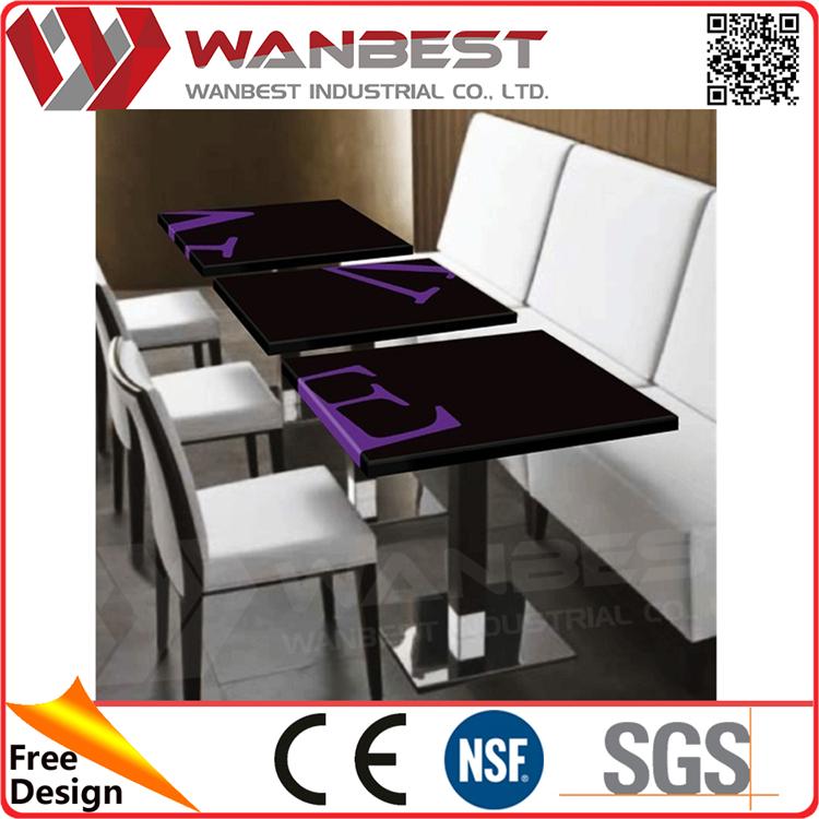 DT-038- Black Purple E Letter Hi Macs  Restaurant Dining Table With Customized Logo