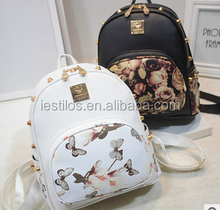 2015 school new fashion women bag retro print Butterfly flower shoulder bag Korean style leisure travel vintage style backpacks