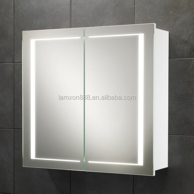 medicine cabinet with double sided mirror door led lighted mirror. Black Bedroom Furniture Sets. Home Design Ideas