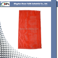 Round flat yarns PP tubular mesh bag with drawstring for vegetables