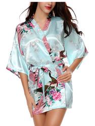Long Design Beautiful Girl kimono satin long night gowns