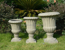 Hand finished tall round antique Italian white urns