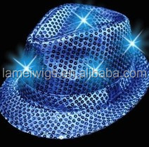 2015 newest New Fedora LED Light Up Blinking Flashing Sequin Hat