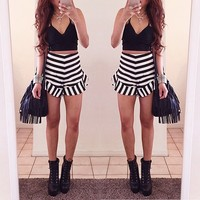 new product two piece set suits white and black striped sexy products you can import from china ZC1735