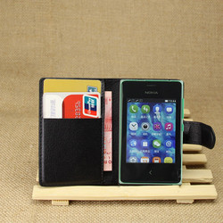 PU Leather flip wallet case cover for Nokia Asha 502