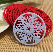 Alibaba express hot sale!!!10cm snowflake felt coaster for christmas decoration