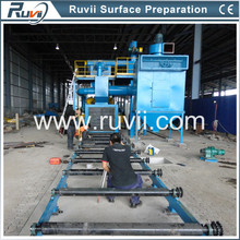 Flexible shot blasting machine for plates profiles tubes and structures
