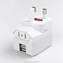 Universal Travel adapter with 2 USB, travel electrical adapters with USB,Universal travel Plug adaptor with USB charger