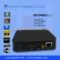 TV Set Top Box Rockchip RK3066,ARM Cortex A9 Dual core ,1.5GHz freq. 1GB DDR3,4GB Flash Support 3G Built-in WiFi
