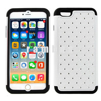 Diamond Rhinestone Plastic Case Soft Silicon Gel Rubber Skin Phone Cases Cover for iPhone 6 4.7 & 6 Plus 5.5