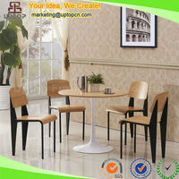 (SP-CT667) Modern 4 seater tulip base wooden round dining set