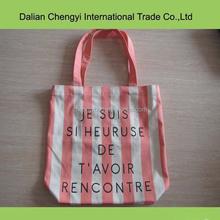 stylish striped girls printing canvas shopping bag