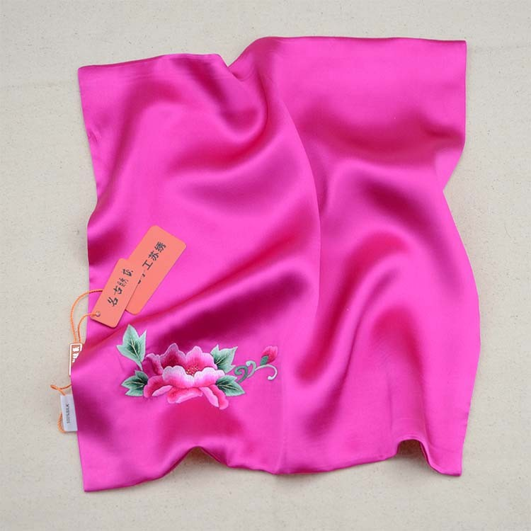 высокое качество 100% шелковый платок с ручной Сучжоу вышивка пионы; фиолетовый; Рождественский подарок
