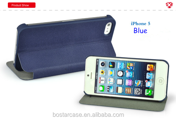New coming Fashionable Clear Color Flip PU Leather Case for Iphone 5