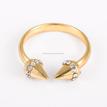 Moonsoul wholesale alibaba gold plated jewelry sets cone shape female ring top sale on alibaba