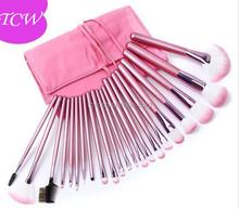 professional 22pcs Makeup Brush Set with Pink Bag Pink,make up brush set with Pink Roll up Leather PU Bag