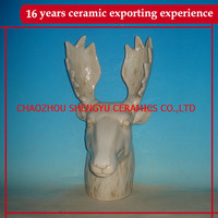2015 new products ceramic deer head wall decoration