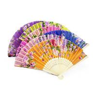 Chinese Style Silk Folding Fan Assorted Flower Designs Hand Fan HandCraft Bamboo Crafts Womens Accessories