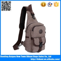 Wholesale canvas vintage casual men's chest bags