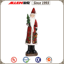 """14.2"""" holding christmas tree and bird house red resin santa claus statue and figurine"""