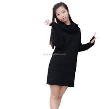 2015 wholesale casual pure color ladies elegant wool sweater dress women