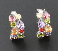Christmas Gifts Wholesale Products 925 Silver Jewelry Multi-color 2 Paved Bands Lady Earrings