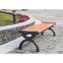 Red Metal outdoor bench , Solid wood corner bench , Cheap park benches