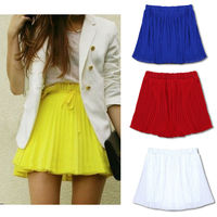 FanShou New 2014 Womens Skirts Spring Summer Fashion Short Chiffon Skirts Female Candy Color Pleated Skirt 5731