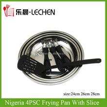 Industry Nigeria Frying Pan With Slice Removable Handle Stainless Steel Fryer 3pcs/4pcs Bakelite Handle