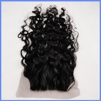 Hot selling 100% Raw Human hair PU Around Malaysian Curly Lace Closure With 3 Part