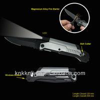 firesteel fire starter LED light flashlight folding rescue knife