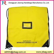 Large newest 210D polyester drawstring backpack bag with transparent pvc business card pocket,travelling drawstring backpack