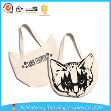 cheap custom cat shape cotton fabric special bag canvas