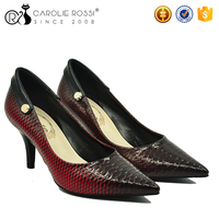 Snake pattern closed pointed toe women low heel shoes for wedding